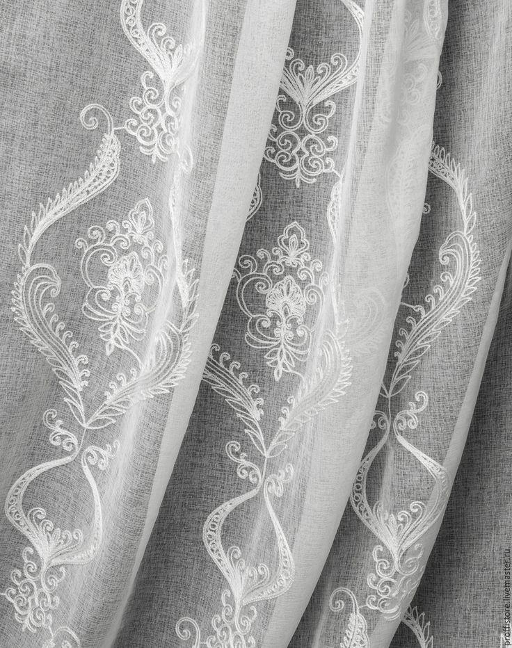 Купить Шторы из белого льна СНЕЖНАЯ ФАНТАЗИЯ - белый, кружево, тюль, купить шторы