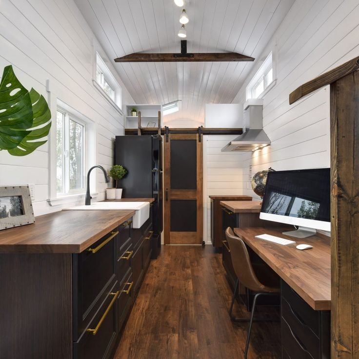 This gorgeous 34ft tiny home is as spacious as it is functional! Built with an at-home office in mind, it still allows for a functional kitchen, a cozy living space, both a master and guest sleeping loft, and a luxurious bathroom/shower! E-mail or Call us today for our pricing and customization options! We would love…