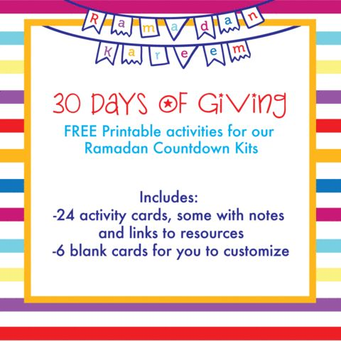 """It's here! Our """"30 Days of Giving"""" FREE Printable is available for download now. We've compiled 26 acts of kindness, good deeds, and activities and laid it out on a template that coordinates and complements perfectly with our Ramadan Countdown Kits. Download it out now!  http://www.silverenvelope.com/blogs/learn/14414457-30-days-of-giving-free-ramadan-printables"""