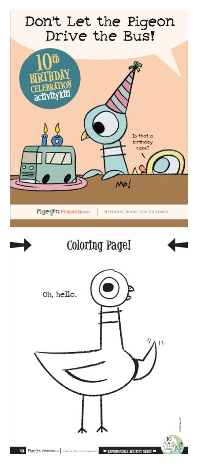 Free download for kids: Mo Willems Pigeon PDF activity book + coloring pages.