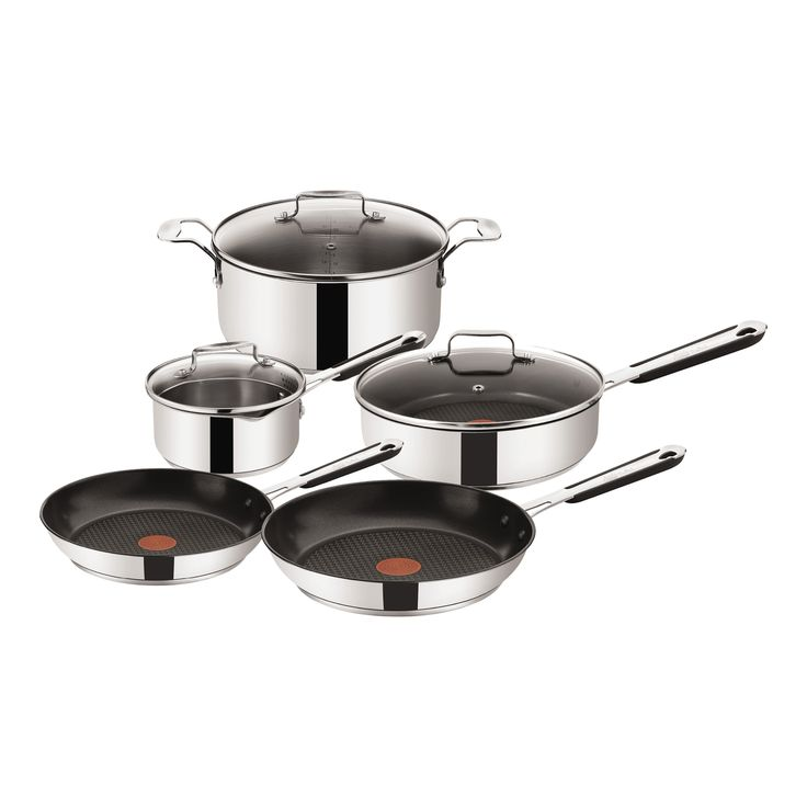 8 Piece Jamie Oliver Stainless Steel Cookware Set by Tefal. Get it now or find more Cookware Sets at Temple & Webster.