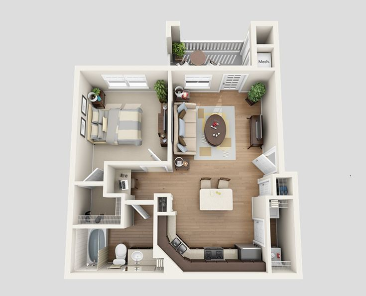3d Furnished Small House Design Plans Apartment Floor Plans Apartment Layout