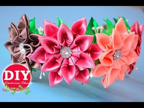 DIY.Kanzashi flower tutorial. Headrim Kanzashi.Satin Ribbon Flower - YouTube