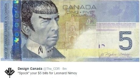$5.00 Canadian bill altered to honour Spock (Leonard Nimoy)