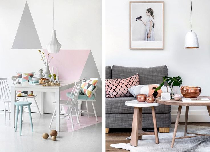 Arredamento color pastello, salotto in tinte rosa  #pastel #color #inspiration #home #decor