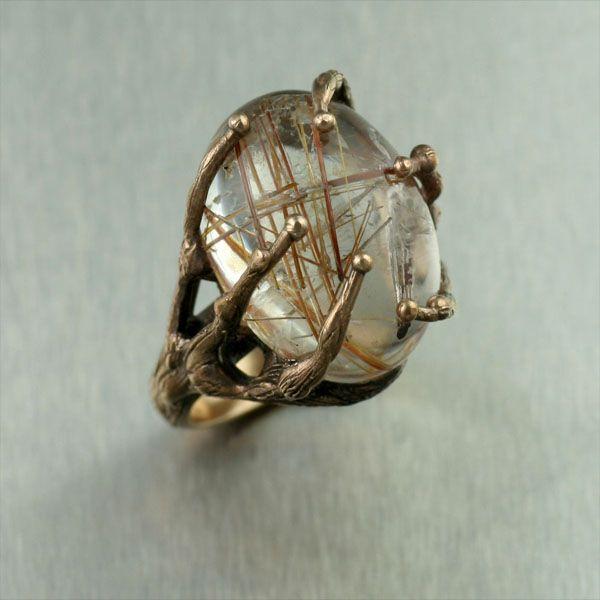 John S. Brana rutilated quartz ring