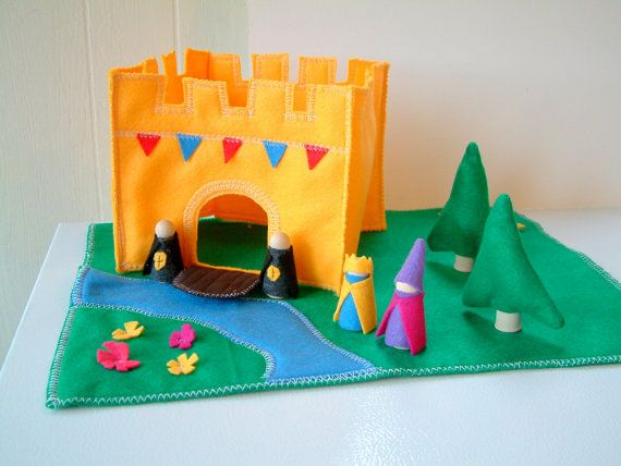 King's Castle Playset - Wood and Felt Includes figures. $34.00, via Etsy.