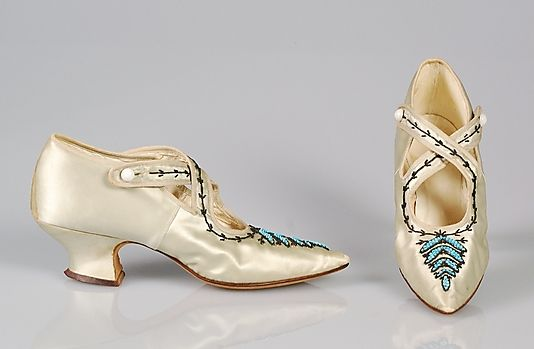 ~Evening shoes Date: ca. 1900 Culture: American Medium: Silk, glass beads, metal beads~