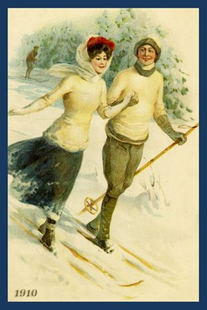 Couple Skiing 1910. Quilt Block printed on cotton. Ready to sew. Single 4x6 block $4.95. Set of 4 blocks with free wall hanging pattern $17.95