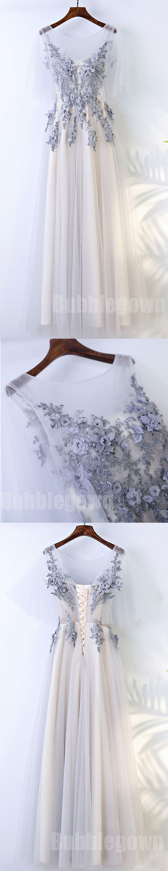 Beautiful Half Sleeves Tulle Applique Elegant Cheap Long Prom Dresses, BGP022 #promdress #promdresses