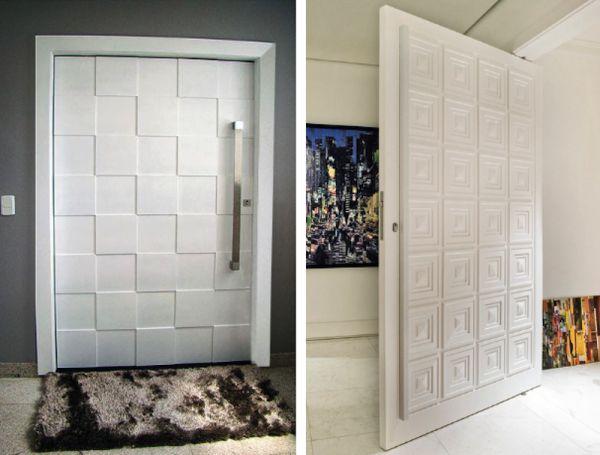 portas de entrada de laca branca com relevos quadrados assim eu gosto decor