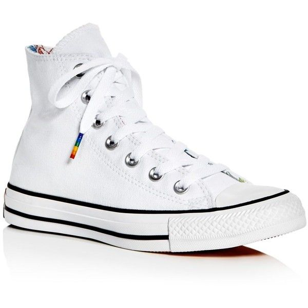 Converse Women's Chuck Taylor All Star Rainbow High Top Sneakers (€53) ❤ liked on Polyvore featuring shoes, sneakers, white multi, high top shoes, white shoes, white high top sneakers, converse sneakers and converse shoes