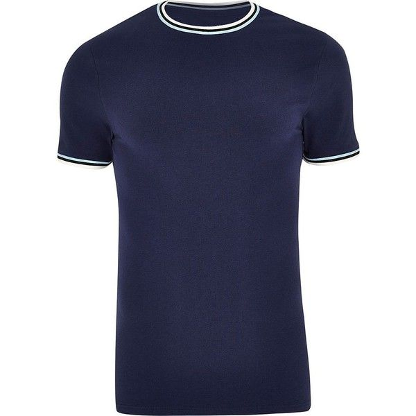 River Island Navy muscle fit ringer T-shirt (51 BRL) ❤ liked on Polyvore featuring men's fashion, men's clothing, men's shirts, men's t-shirts, navy, mens navy blue t shirt, mens crew neck shirts, tall mens shirts, old navy mens t shirts and mens navy blue short sleeve shirt