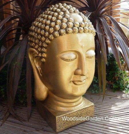 Gold Buddha Head Bust Home Or Garden Ornament | Woodside Garden Centre |  Pots To Inspire