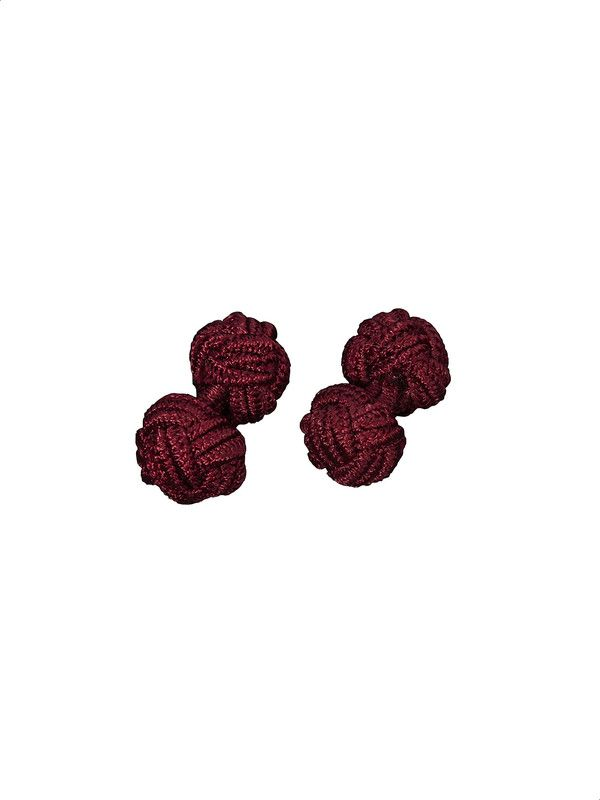 Burgundy color cloth cufflinks for double-cuff shirt