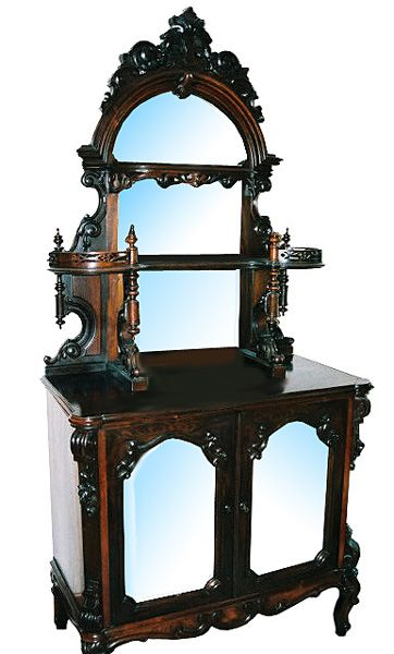 Antique 19th C. Victorian etagere executed in rosewood by R.W. Hutchings, New York. Features detailed workmanship on the carving and a beveled mirrored back as well as mirrored doors.