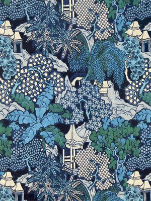 A contemporary linen upholstery fabric in a scenic design of navy blue, indigo blue, sky blue, jade green, grey and white. This modern fabric is