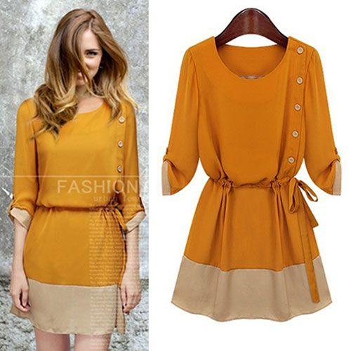 $49.99 USD [grzxy6601468]Elegant Lady Contrast Color Half Sleeve Belted Chiffon