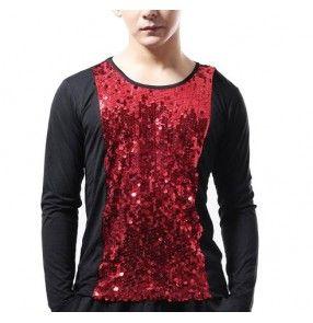 Black red silver patchwork sequins glitter women's jazz punk pole dance stage performance singer dancers hip hop dance tops t shirts