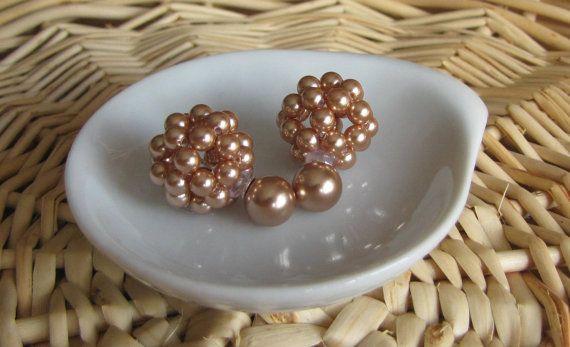 Rose Gold earrings swarovski pearls