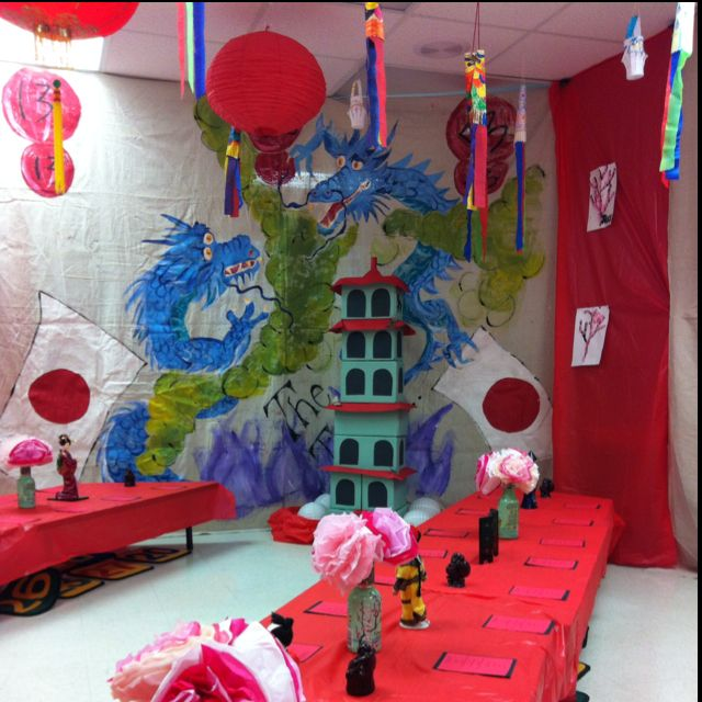 """Classroom decorated for the student's """"Trip to Japan"""" So cool!"""