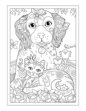 Dog Cat and Butterfly ~ Pampered Pets Adult Coloring Book by Marjorie Sarnat