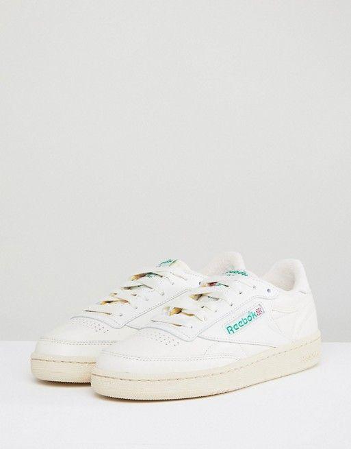 best sneakers 772f0 2b860 Reebok Classic Club C Vintage Sneakers In Chalk With Green