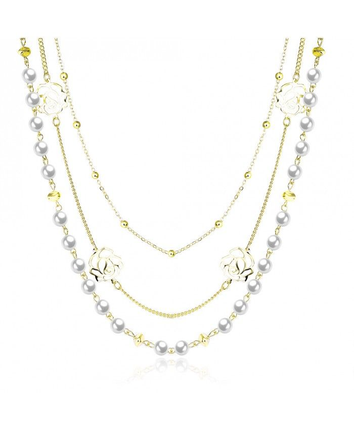 Ouruora Beads and Flowers Tiered Chains Necklace