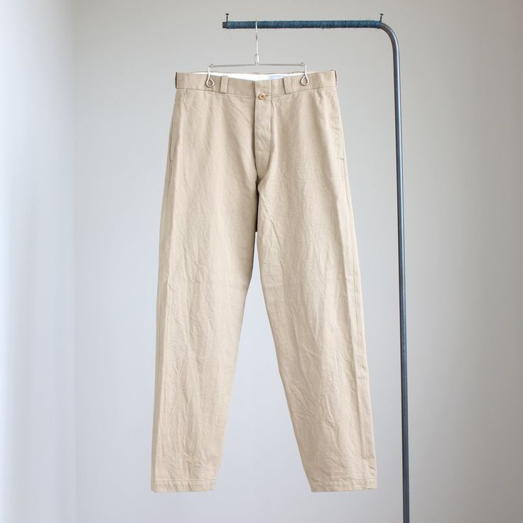 Chino Cloth Pants - wide tapared #khaki