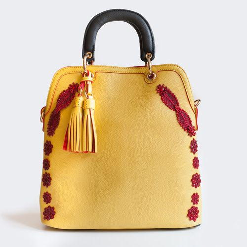 Bico Gia handbag in yellow with red datails. Handmade decorations. Adadi Accessories