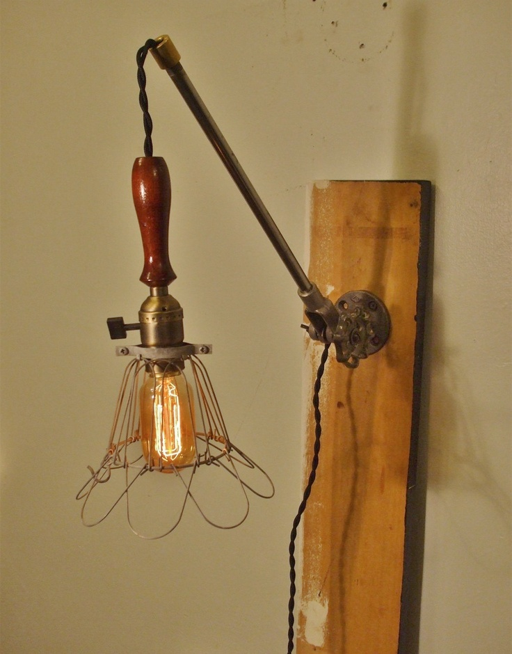 Vintage Industrial Cage Light Sconce - Machine Age Minimalist Pendant Trouble Lamp w/ Mounting Arm: Sconces Machine, Minimalist Pendants, Machine Age, Mount Arm, Lights Sconces, Age Pendants, Vintage Industrial, Cages Lights, Industrial Cages