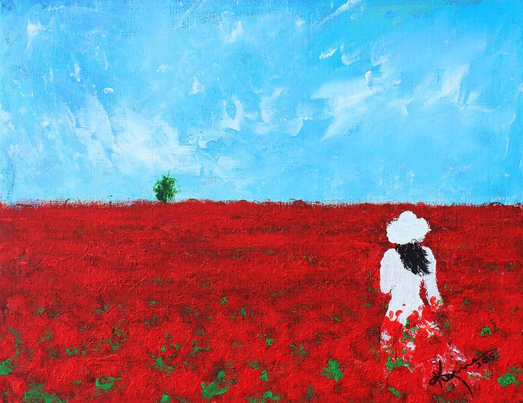 Field Of Poppies Acrylic Painting Google Search Art