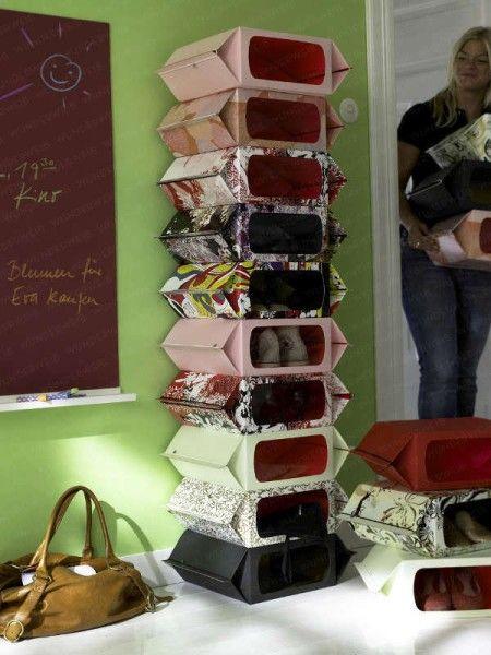 Wohin mit all den Schuhen? Praktische Kartons mit Sehschlitzen helfen dabei, den Überblick zu behalten!