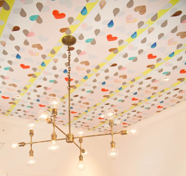 This ceiling is amazing! from Simply Smitten by Kristin Kerr: Ideas, Heart, Kids Room, Wallpaper, Ceilings, Light Fixture, Rooms, Patterned Ceiling