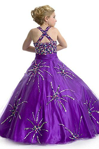 Little Girls Beauty Pageant Dress with Glitz Ball Gown 1468 Violet 10