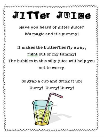 jitter juice poem - Google Search First day of school to do with First Day Jitters
