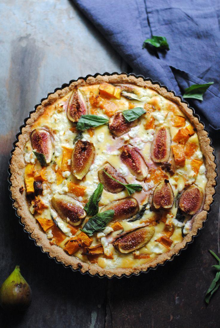Pumpkin, Basil, Goat Cheese and Fig Tart