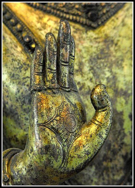 "Abhaya mudrâ, ""fear not"". Abhaya in Sanskrit means fearlessness. Musée des Arts Asiatiques de Nice, France"