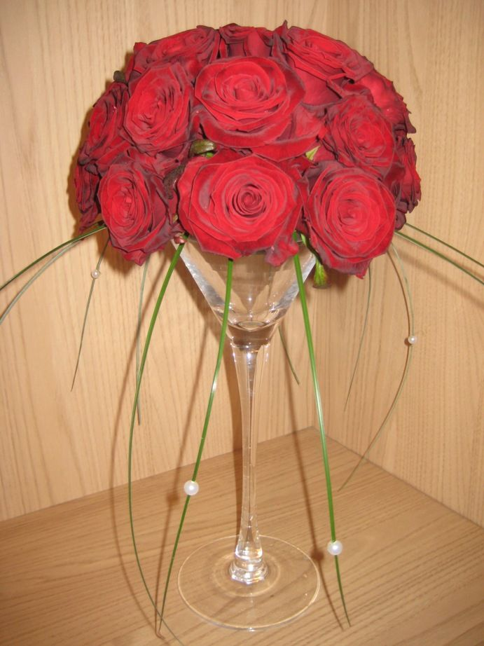 Champagne Glass Flower Arrangement | T030: Small Champagne Flute Arrangement with a Dome Of Red Roses and ...