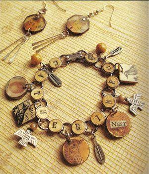 JewelryCharm Bracelets, Jewelry Horace, Ruby Jewelry, Buttons Bracelets, Altered Paper, Paper Jewelry, Charms Bracelets, Letters, Vintage Jewelry