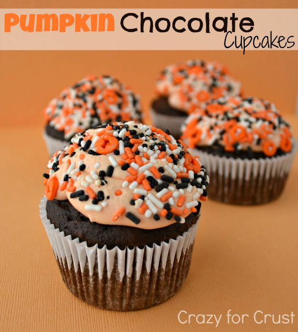 Chocolate #Pumpkin #Cupcakes, perfect for #Halloween!