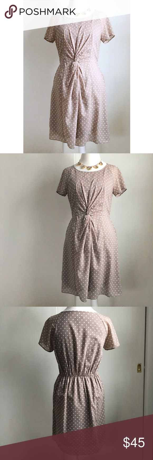 j crew polka dot dress J Crew Factory dress with knitted front design. Tan/taupe with white polka dots. Crew neck, shirt sleeves. Pull on style with elastic waist. Size 4. Excellent condition! / j crew, jcrew, factory, dress, tan, taupe, beige, brown, white, ivory, off white, polka dot, print, pattern / J. Crew Factory Dresses