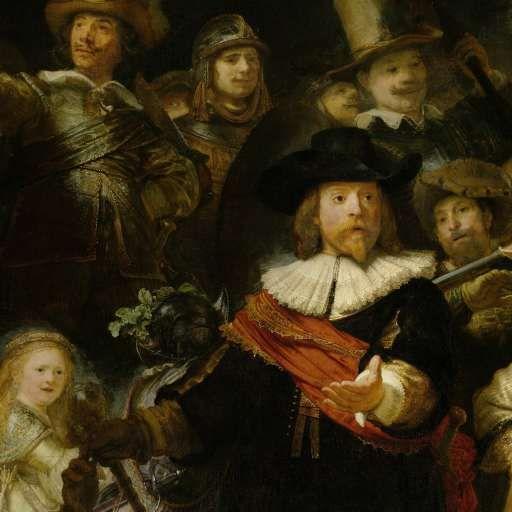 Officieren en andere schutters van wijk II in Amsterdam onder leiding van kapitein Frans Banninck Cocq en luitenant Willem van Ruytenburch, bekend als de 'Nachtwacht', Rembrandt Harmensz. van Rijn, 1642 - Rijksmuseum