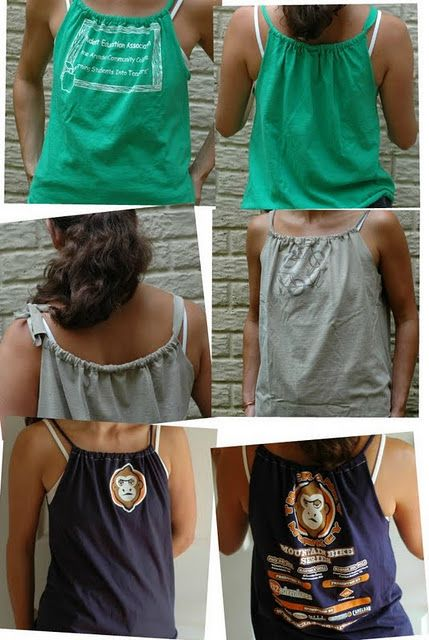 Tee to tank-top:  five cuts  a little stitching - really cute,  *anyone* can do this.  You'll get to wear shirts that have been crammed in the backs of drawers  :-)  #DIY #craft #repurpose