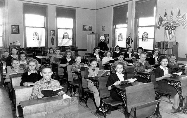 Classroom at Providence Saint Joseph School, Sprague, Washington, 1940s