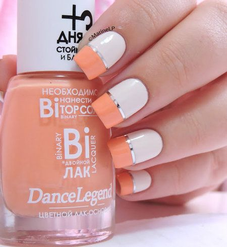 Coral & White Half Slice Color Block with silver / platinum nail tape Free Hand Nail Art