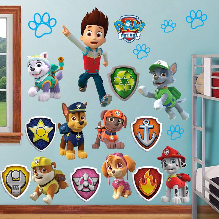 Paw Patrol Wall Stickers Kids Decor Removable Decal Decals Art Sticker Home Huge Chase Ryder Dog Marshall Rubble Peel Stick