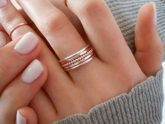 Set Of 6 Rings Assorted Rings Colored Stackable by annikabella