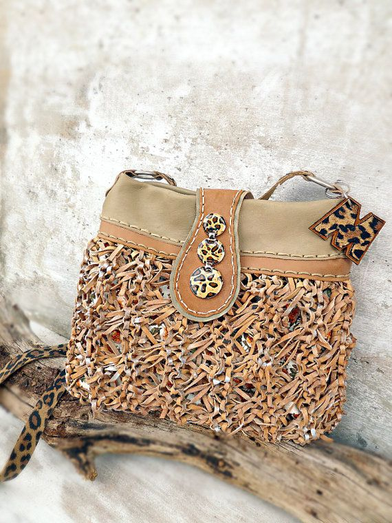 Beige crossbody bag boho purse leopard leather by Glad2Balive