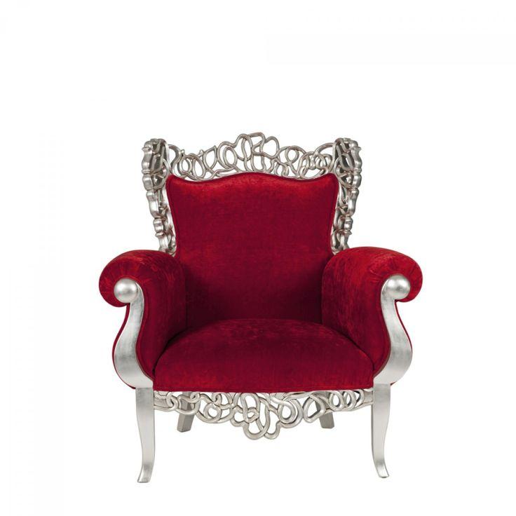#Sessel Pomp #Mahagoni Teilmassiv Silber Stoff Rot Im #barockstil Kaufen  Bei Mobego